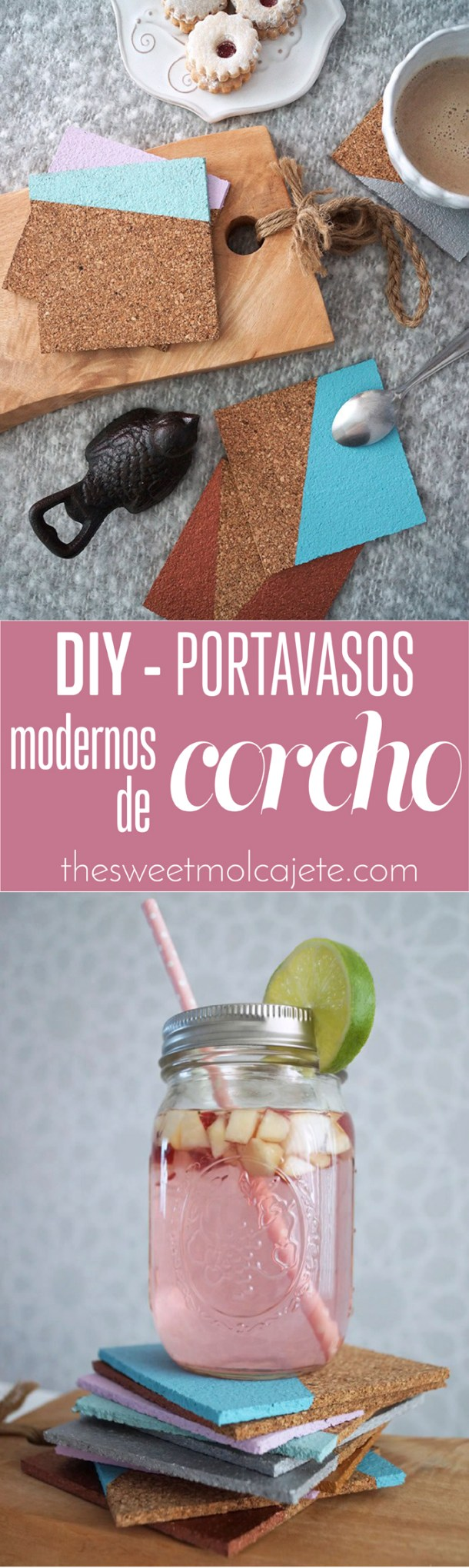 Paint dipped diy cork coasters | Fáciles portavasos de corcho pintados por @casahaus