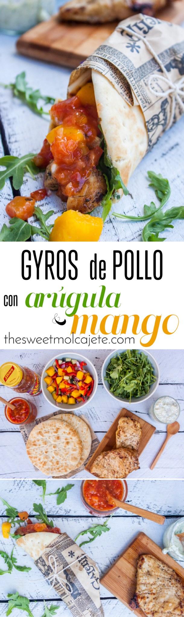 Gyros rellenos de jugoso pollo, arúgula (rúcula), una ensalada fresca de pepino, cebolla y mango se convierten en un platillo completísimo lleno de sabor, frescura y picor gracias a la Salsa Mango Habanero.