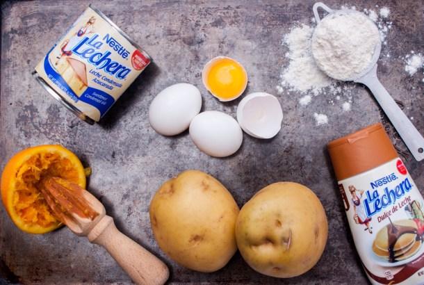 foto de ingredientes para hacer donas rellenas de dulce de leche