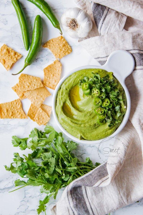 Receta de hummus de cilantro con chile para 15 snacks saludables para el regreso a clases