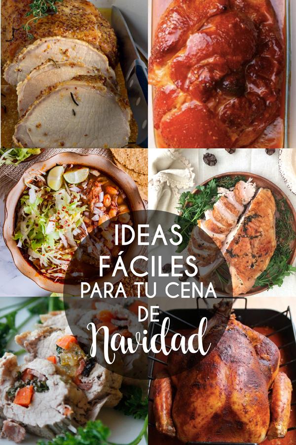 collage de fotos de recetas fáciles para la cena de navidad )pavo, pozole, lomo, pechuga, jamón)