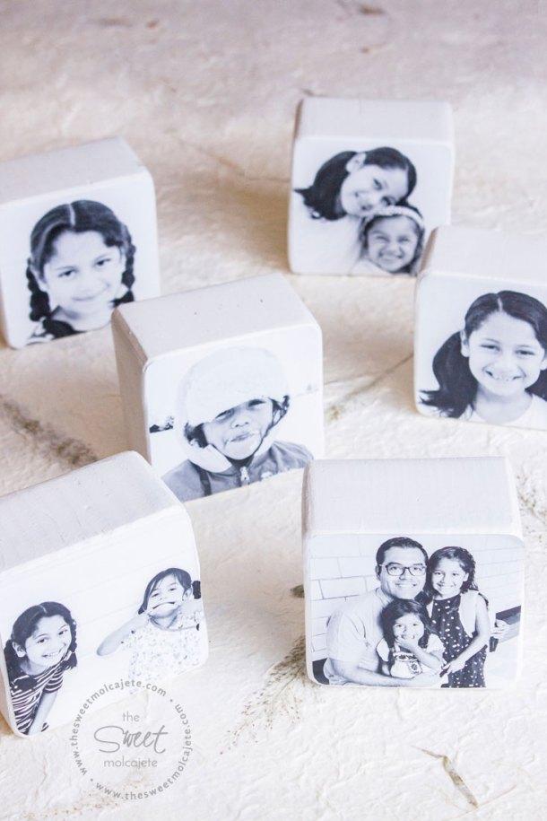Bloques de madera con fotos en blanco y negro para regalo de dia del padre
