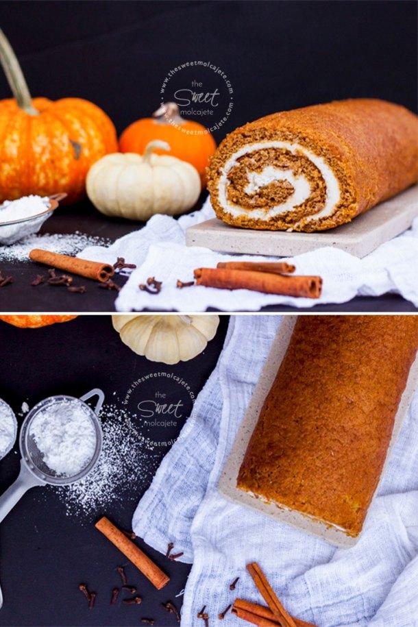 Collage de dos fotos, una frontal y otra cenital, donde se ve un rollos de calabaza con relleno de queso crema