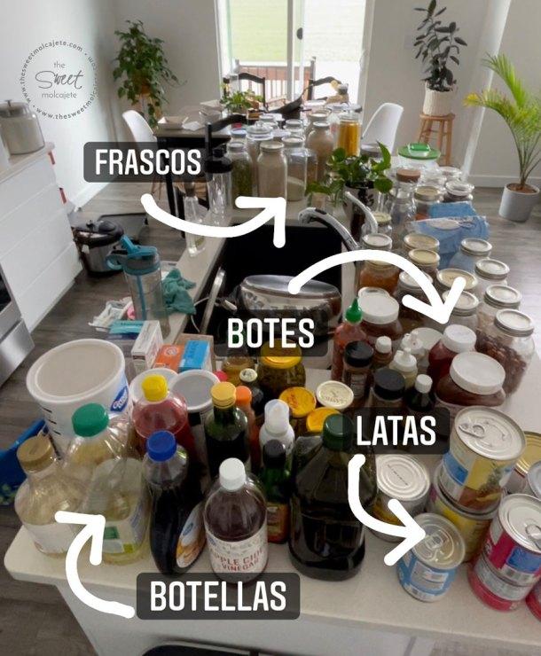 contenidos de una despensa agrupados por grupos, se lee texto que señala las latas, botellas, botes y frascos