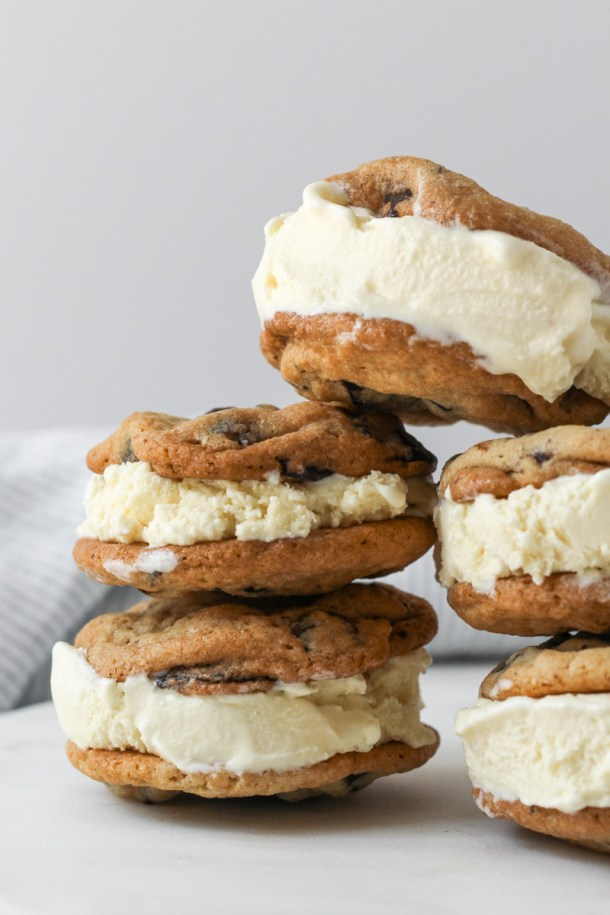 Stacked chocolate chip ice cream sandwiches