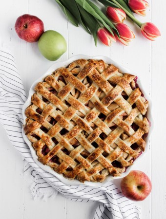 Blueberry apple pie with a lattice crust