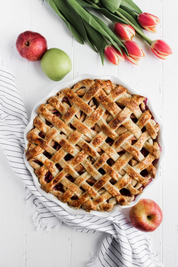 Blueberry apple pie with a lattice crust
