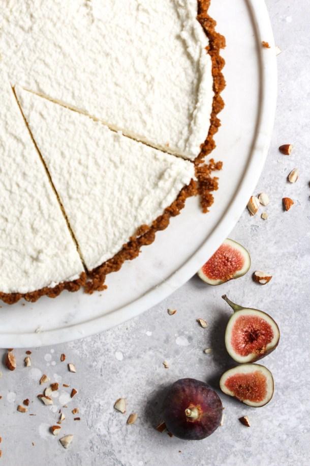 No-bake honey mascarpone fig tart overhead shot.