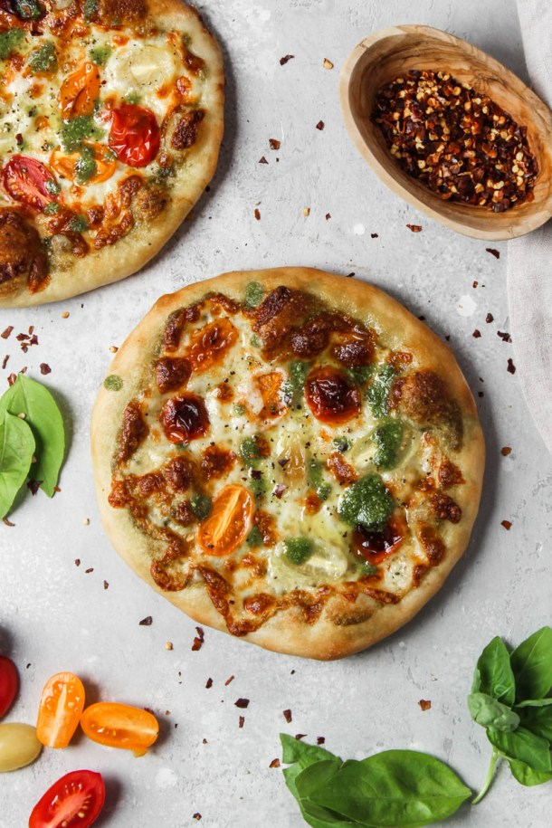Individual basil pesto pizza.