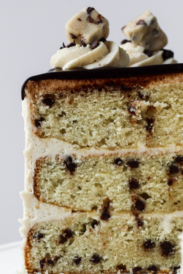 Sliced cookie dough cake