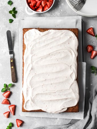 Fresh strawberry sheet cake with strawberry cream cheese frosting
