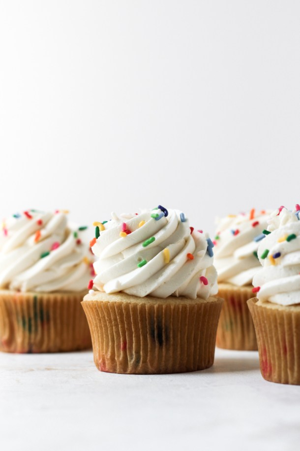 Funfetti cupcakes with vanilla buttercream and rainbow sprinkles