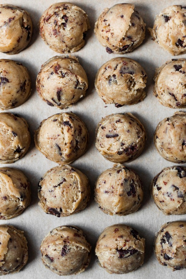 Tray of browned butter chocolate chip cookie dough balls.