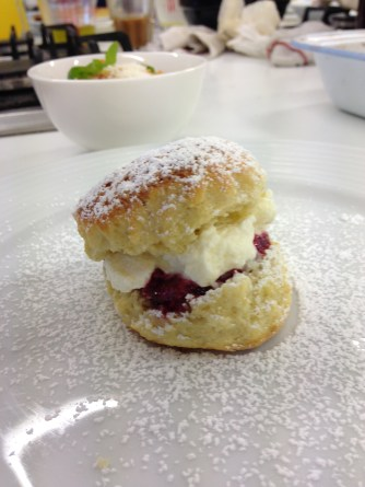 Scone with home made raspberry jam