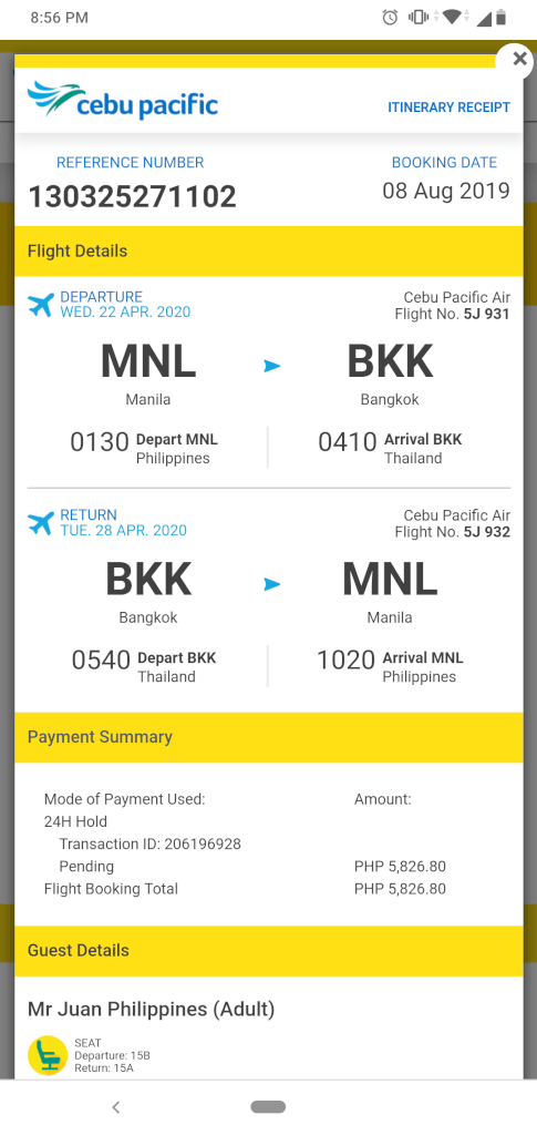 Cebu Pacific payment thru Gcash
