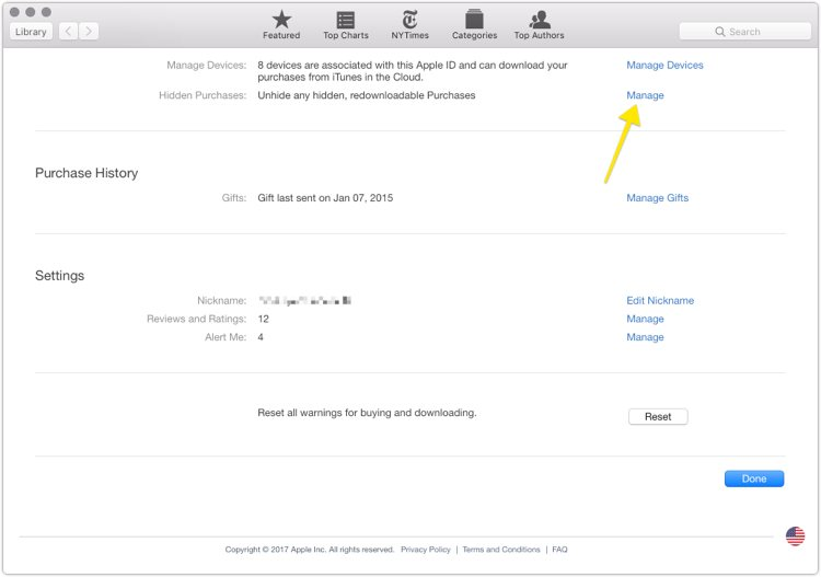 How to hide past iBooks purchases