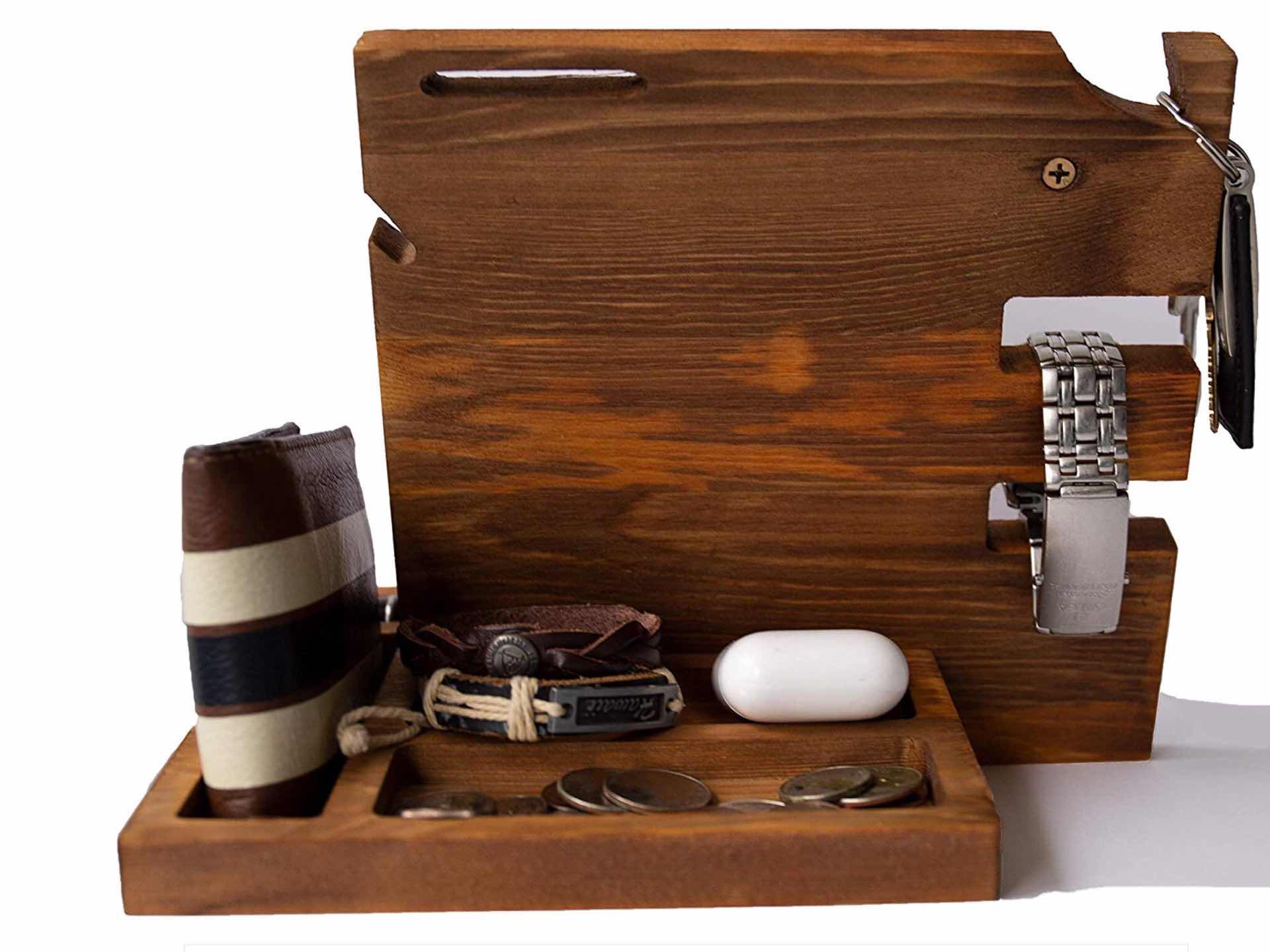 Peraco Wooden Docking Station Nightstand Organizer The