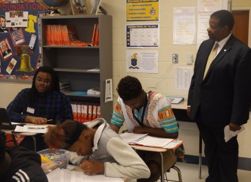 Dr. Ronald Rhames, MTC president, observes a class as part of being Principal for a Day.