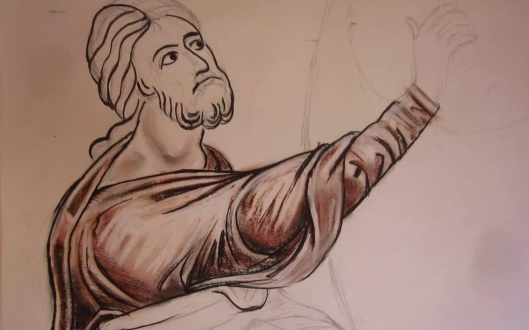 Drawing a mosaic from Monreale, Sicily.