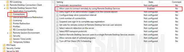 Connections - Allow RDP Settings