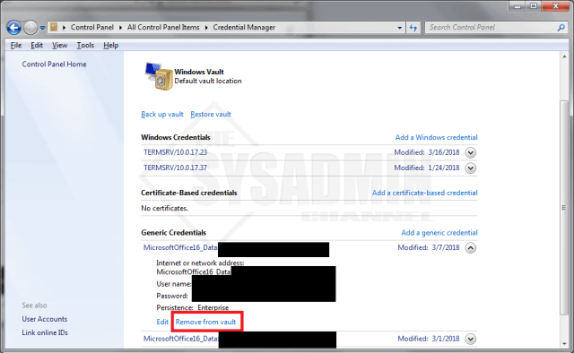 Remove Passwords from Credential Manager