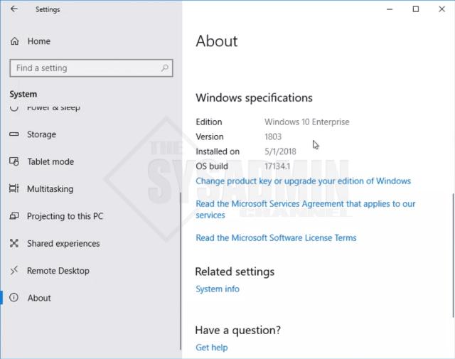 Windows 10 Enterprise version 1803
