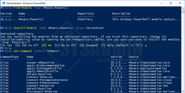 Install-Module -Name VMware.PowerCLI -Scope CurrentUser