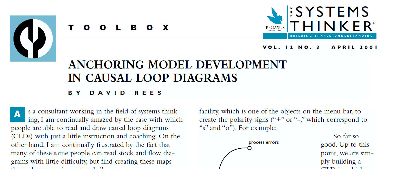 hight resolution of the systems thinker anchoring model development in causal loop diagrams the systems thinker