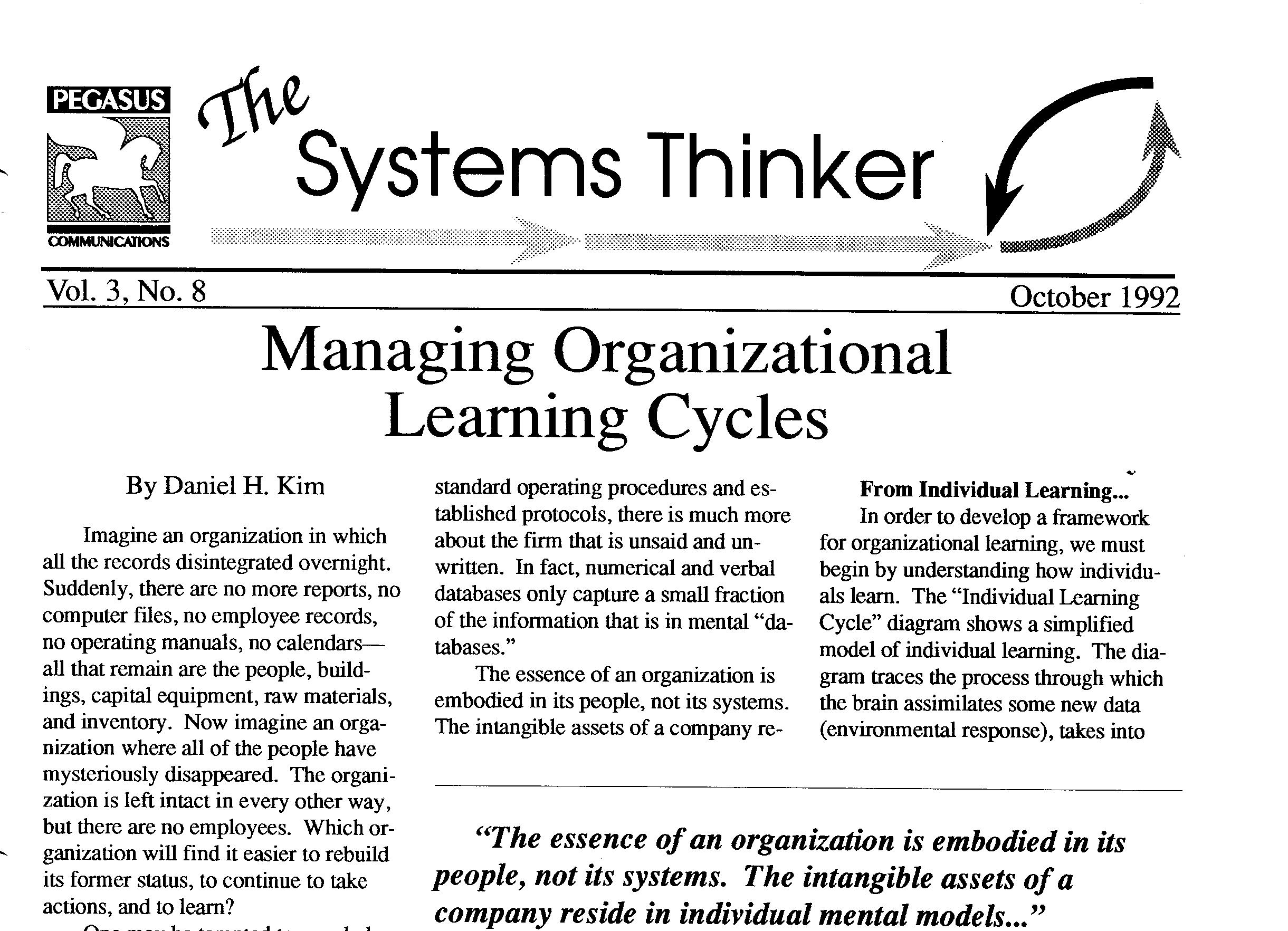 The Systems Thinker – Managing Organizational Learning Cycles - The Systems  Thinker