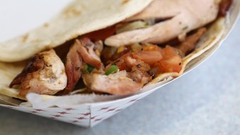 Smoked chicken taco with pico de gallo