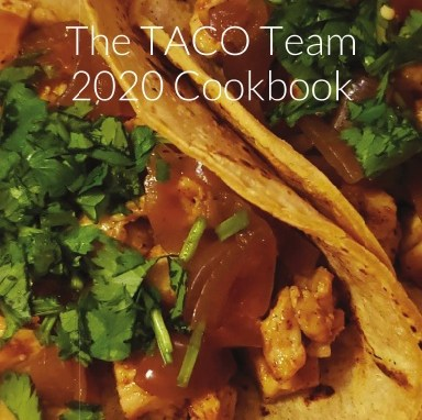 TACO Team Cookbook cover, closeup of tacos