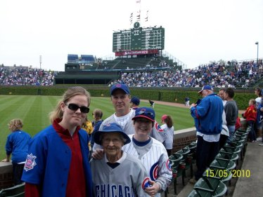 Avon with her family at Wrigley Field in 2010