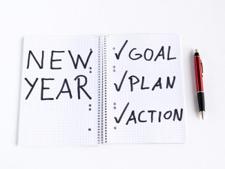 notebook: new year goal, action, plan