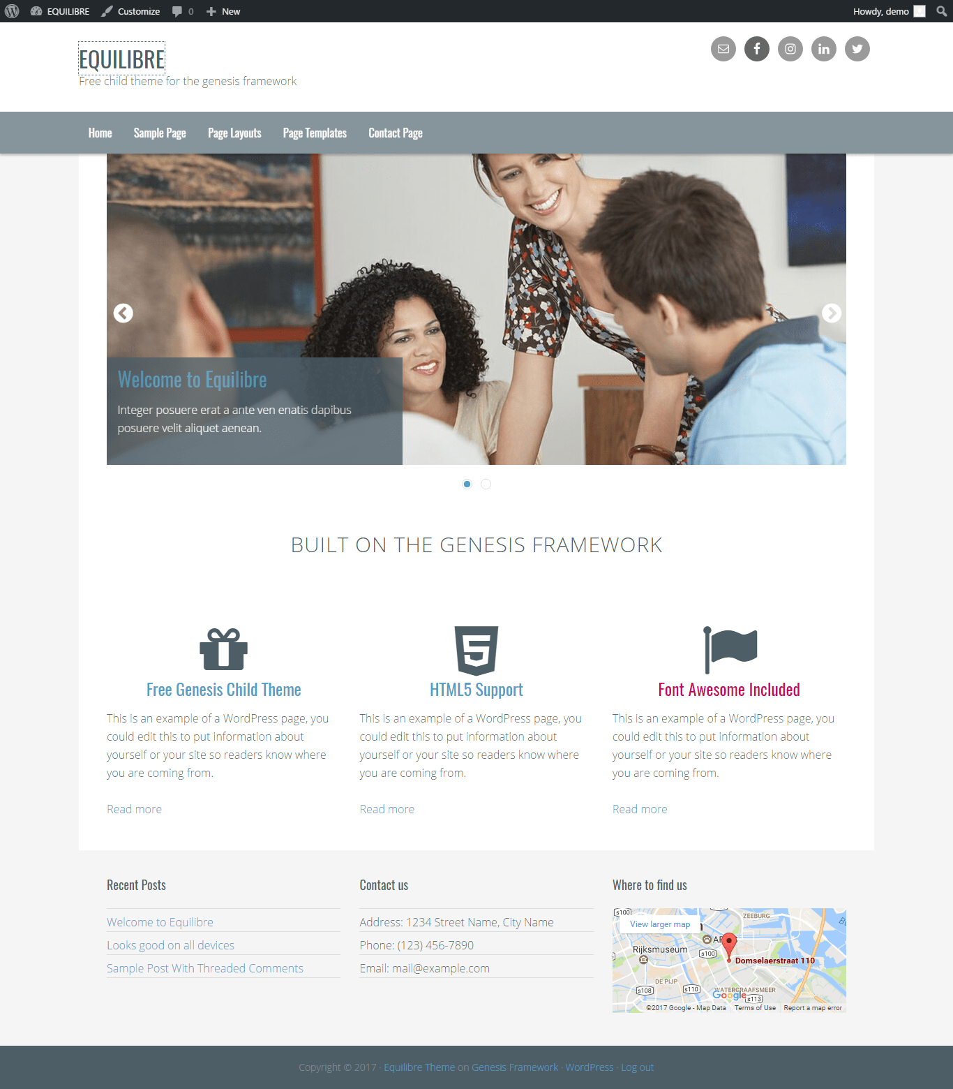 Get a free website with Equilibre by clarothemes on Talenthost