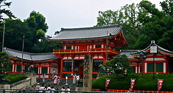 The bright orange entrance to the Yasaka Shrine in Gion