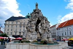A fountain in the centre of the market depicting mythical creatures