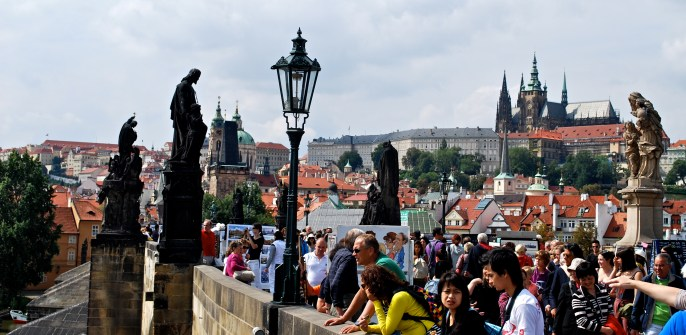 Walking along Charles Bridge