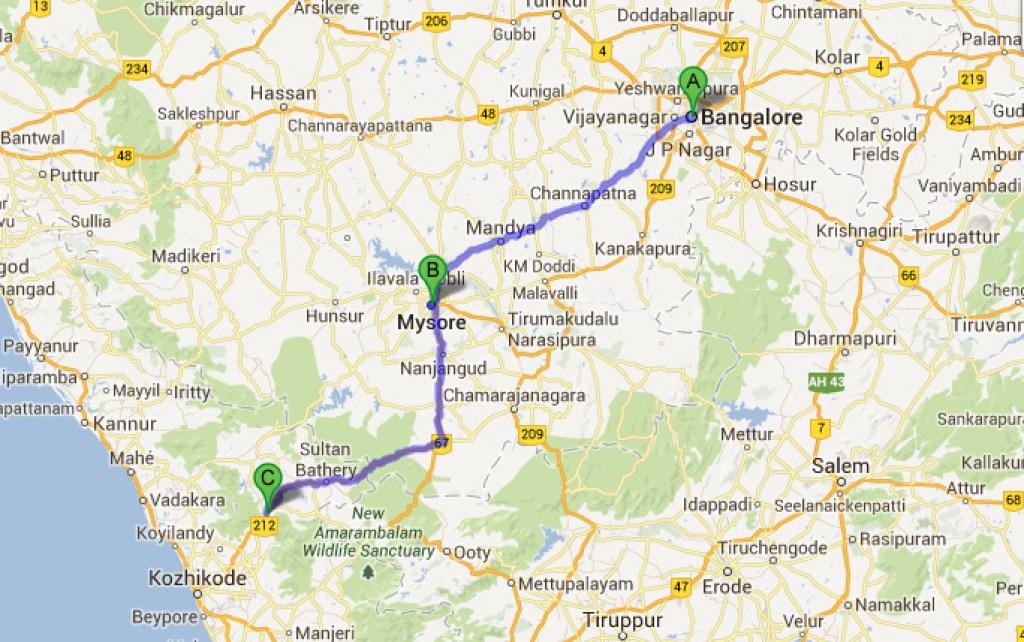 bangalore to wayanad distance