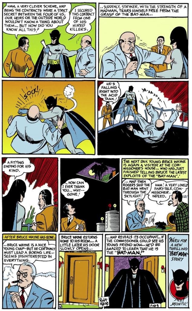 Batman foils Stryker's plan, Stryker is killed by tumbling into a vat of acid.
