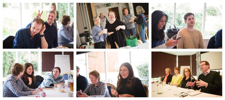 Happy smiling images of people at a meeting of creative business people at the Creative Springboard Panel 2018 Tiled shot by Charlie Budd The Tall Photographer