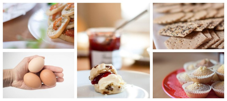 Delicious Food Product Photography including eggs cake scones jam cream bruschetta and crackers Charlie Budd The Tall Photographer