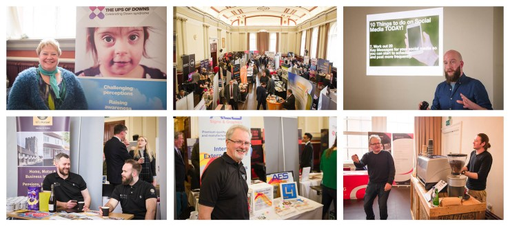 Six photos showing a range of businesses at the Leamington Business Show 2018 taken by Charlie Budd The Tall Photographer