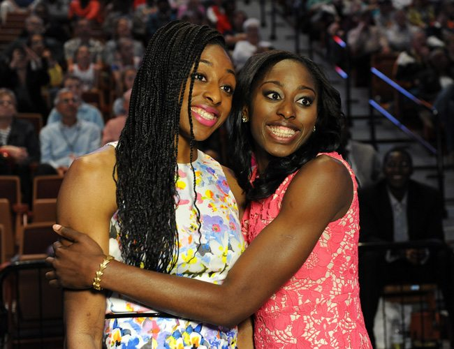 UNCASVILLE, CT - APRIL 14: Chiney Ogwumike poses with her sister Nneka Ogwumike during the 2014 WNBA Draft Presented By State Farm on April 14, 2014 at Mohegan Sun Arena in Uncasville, Connecticut. NOTE TO USER: User expressly acknowledges and agrees that, by downloading and/or using this Photograph, user is consenting to the terms and conditions of the Getty Images License Agreement. Mandatory Copyright Notice: Copyright 2014 NBAE (Photo by Brian Babineau/NBAE via Getty Images)