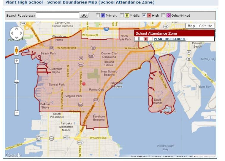 Plant High School Boundary Map