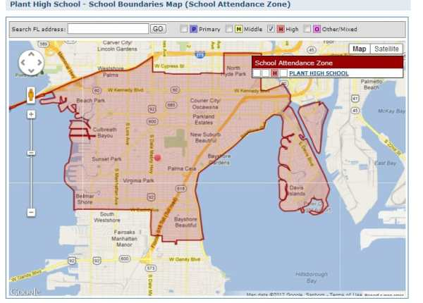 Tampa39s Plant High School District Map and Homes for Sale