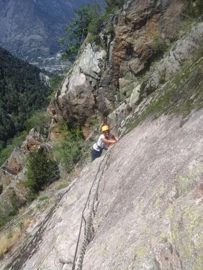 woman on Via Ferrata in Andorra