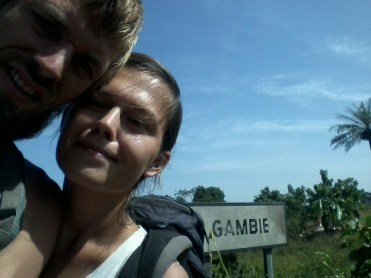 A selfie of a couple Border Crossing Senegal to the Gambia, in West Africa