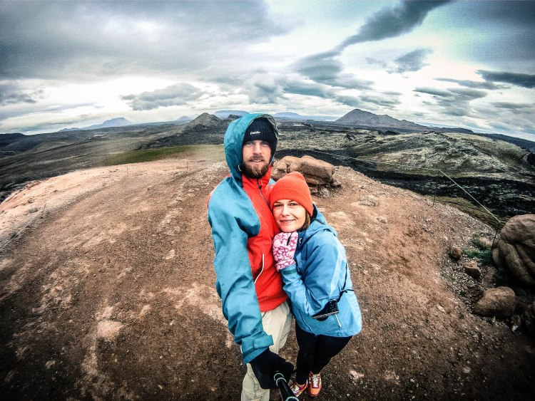 selfie of a happy couple in Iceland