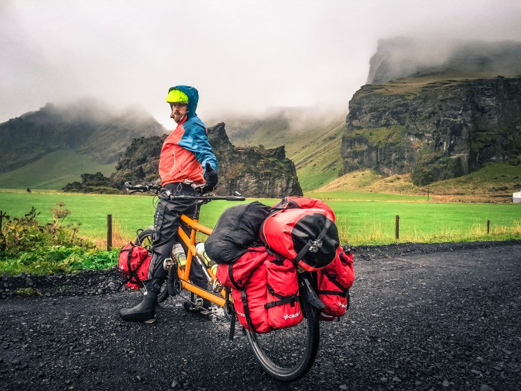 A man on a tandem bicycle in Hella, Iceland