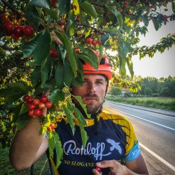 A bicycle rider eating cherries during sunset
